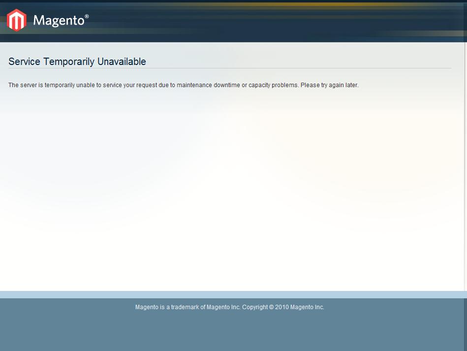 Error en Magento: Service temporarily unavailable
